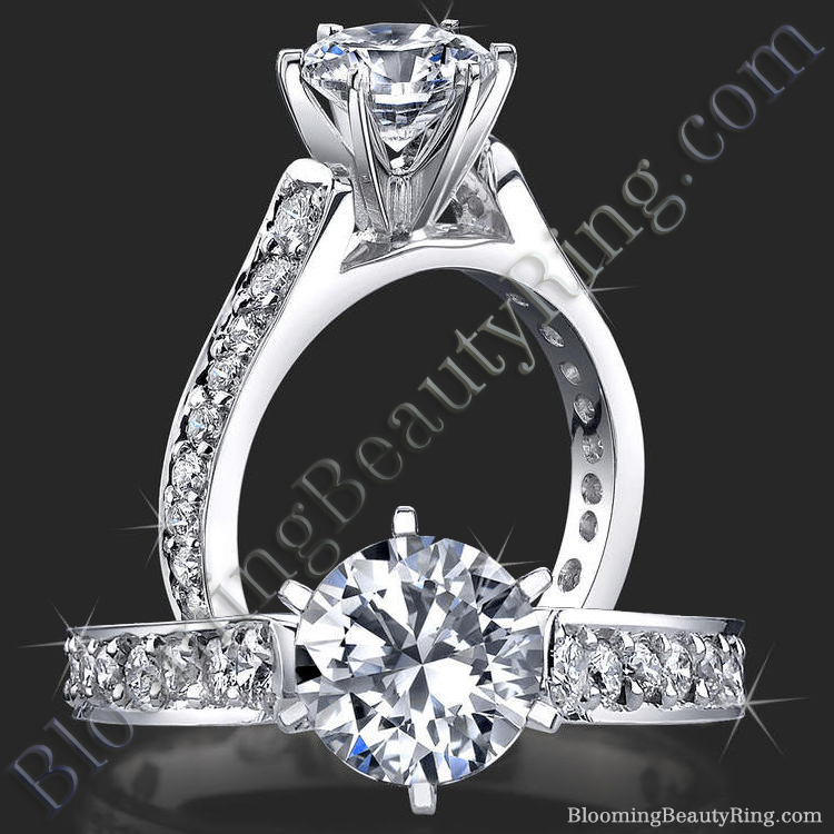 Reverse Tapered Gold Engagement Ring with Pave Set Diamonds and Medium Profile - bbr407a