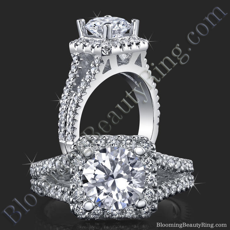 Round Diamond Square Halo Split Engagement Ring - bbr502
