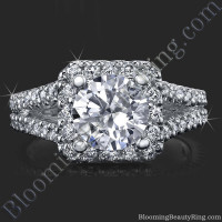 Round Diamond Square Halo Split Ring