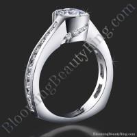 Spiral Wrap Deep Set Pave and Bezel Round Diamond Engagement Ring