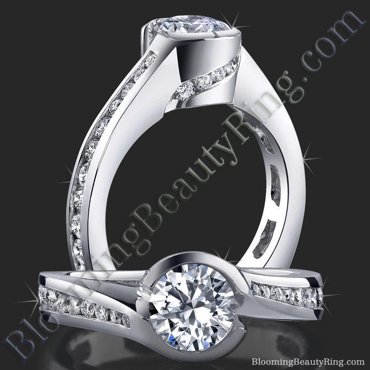 Spiral Wrap Deep Set Pave and Bezel Round Diamond Engagement Ring - bbr433