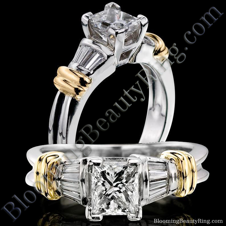 Streamlined Band with Ribbons of Gold 4 Prong Engagement Ring - bbrnw8872