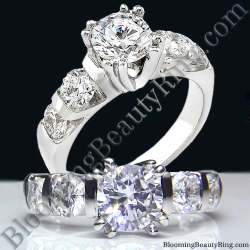 Tension Set Large Diamond Curved 8 Prong Engagement Ring - bbr331e