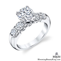Tiffany Style 9 Large Stone Diamond Engagement Ring Set