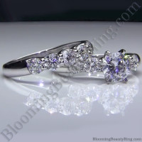 Tiffany Style 9 Large Stone Diamond Engagement Ring Set -2