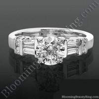 Tiffany Style Engagement Ring with Tapered Baguette and Round Side Accent Diamonds
