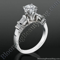 Tiffany Style Engagement Ring with Tapered Baguette and Small Round Side Accent Diamonds