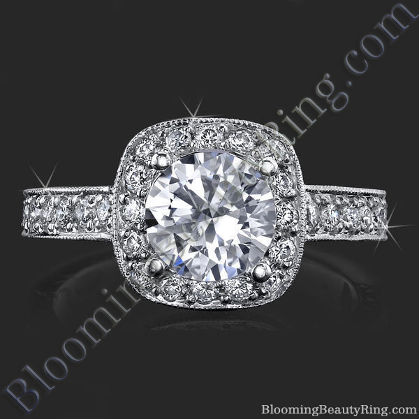 unique slant top halo engagement ring bbr441