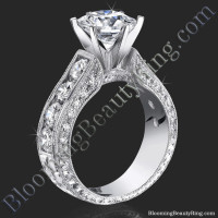 4.10 ctw round diamond engraved 6 prong engagement ring
