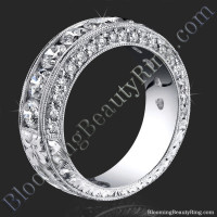 4.10 ctw round diamond engraved 6 prong engagement band
