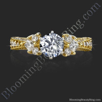 6 Prong Graduated Diamond Engagement Ring - bbr234