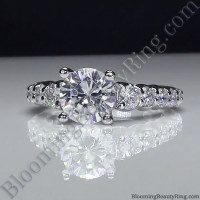 Antique Style Engagement Ring with Large Graduated Diamonds - bbr593