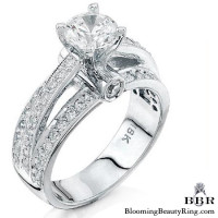 Pave Center Band with Connecting Round Bar Diamond Engagement Ring