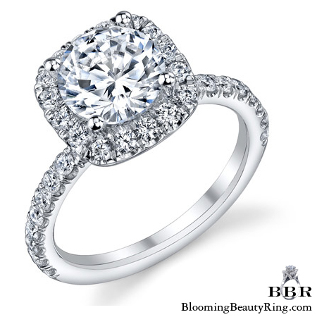 Petite Square Halo Round Shared Prong Set Diamond Engagement Ring - bbr572e