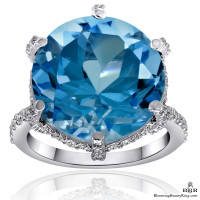 17.35 ctw. Blue Topaz and Diamond Ring
