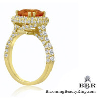 18k Yellow Gold 5.55 ctw. Mandarin Garnet Diamond Ring