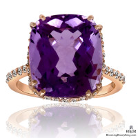 20k Rose Gold Rich Color 8.65 ct. Purple Rose Cut Amethyst Ring