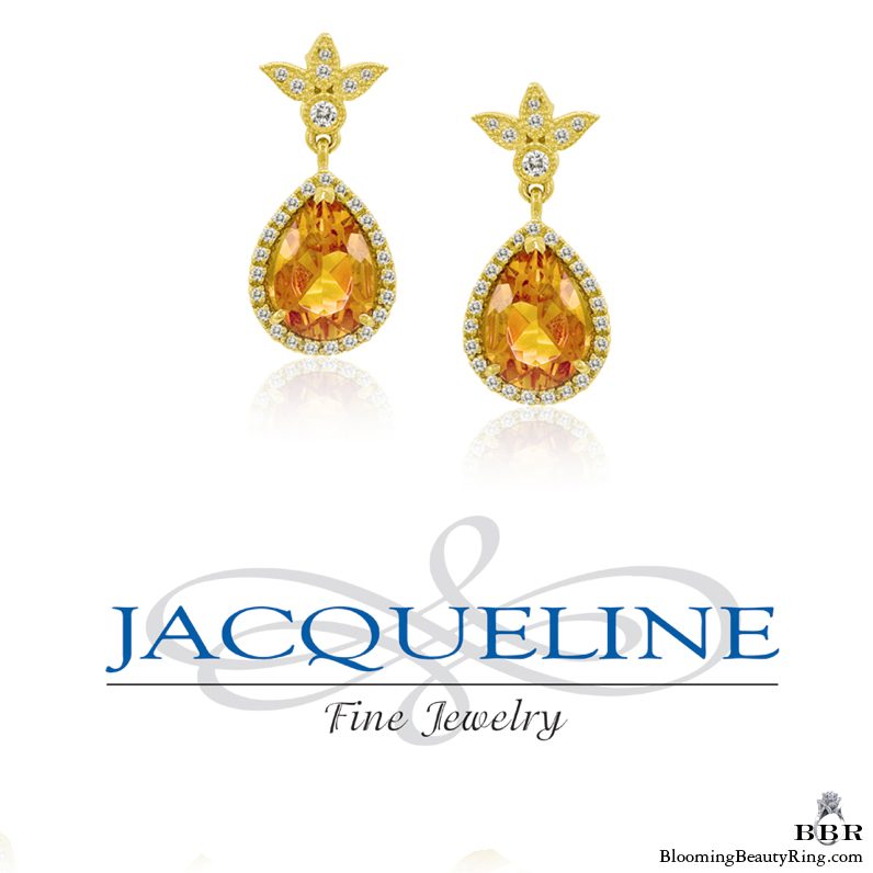 Madeira Topaz Pear Shape and Diamond Earrings - jte398