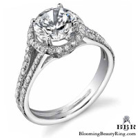 Pave Halo Engagement Ring with Open Bridge Design