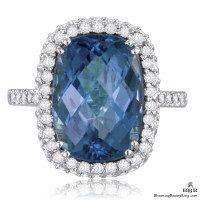 Rich Marine Blue Cushion Cut Topaz and Diamond 8 Prong Ring
