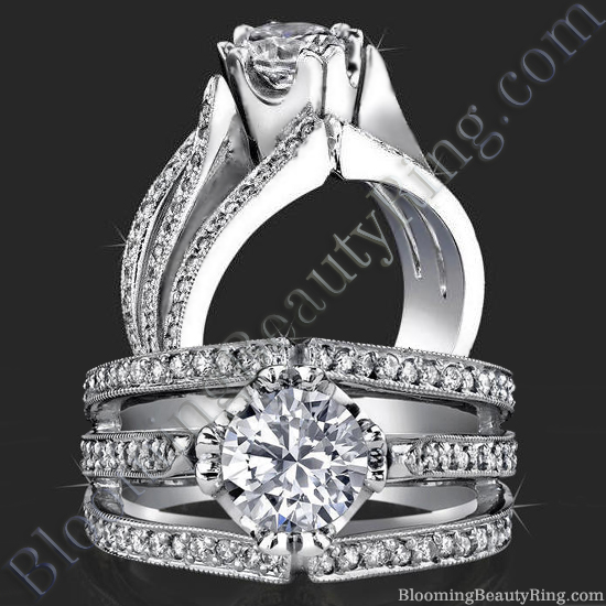 Unique Tulip Head with Wide Band and Triple Split Engagement Ring - bbr239
