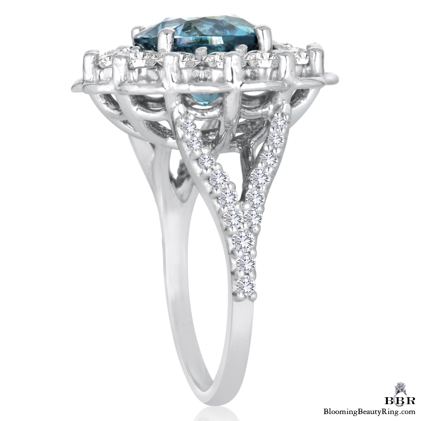 Vivid Blue African Zircon in a Signature Open Lace Designer Gemstone and Diamond Ring - jtr196