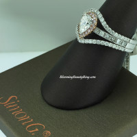 Simon G Artistic 3 Band Pear White and Pink Diamond Ring