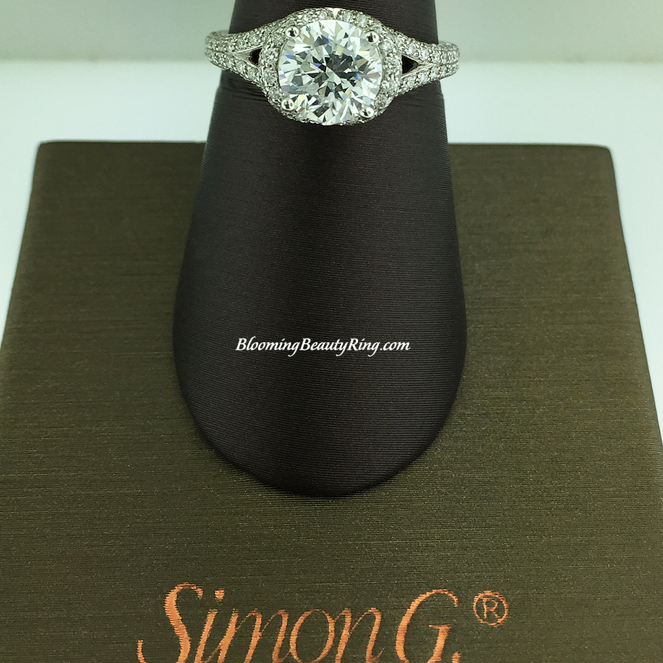 Simon G Diamond Split Shank Halo Engagement Ring - MR1598