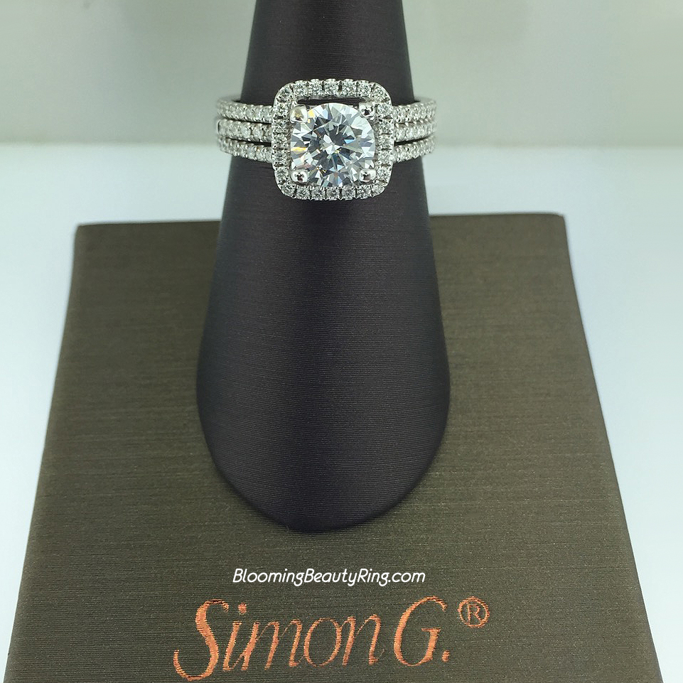 Simon G Fabled Diamond Halo Engagement Ring Set - TR128