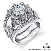 The Smaller Lotus Swan Double Band Flower Ring Set