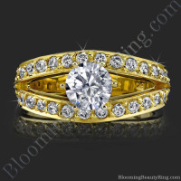 A Full Split Shank Slightly Soft Cornered Diamond Ring - bbr409