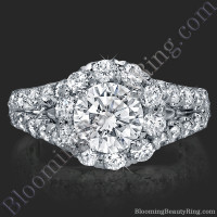 Diamond Go Round Halo Split Shank Engagement Ring 2