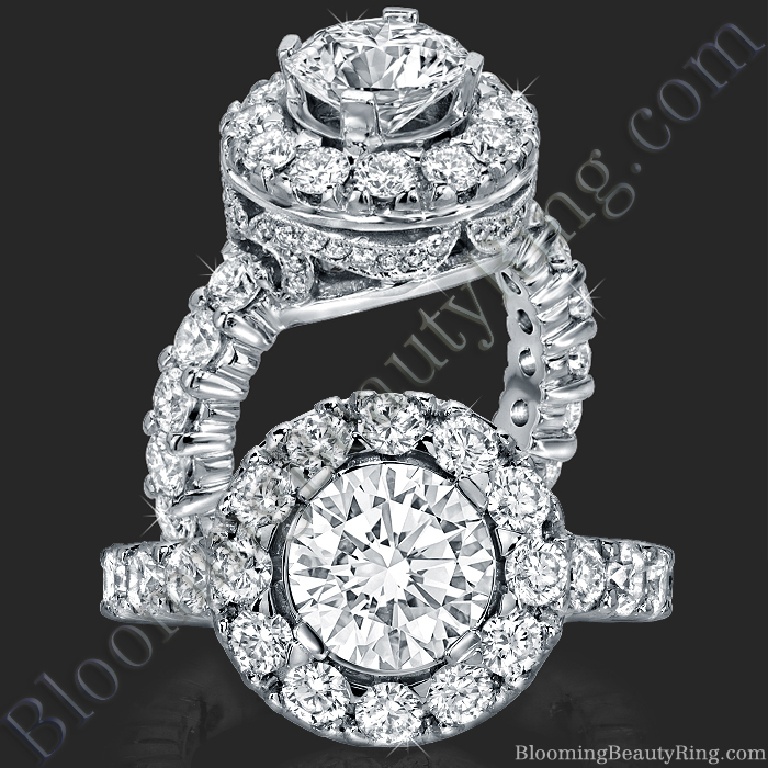 Diamonds and Flowing Lace Engagement Ring - bbr181