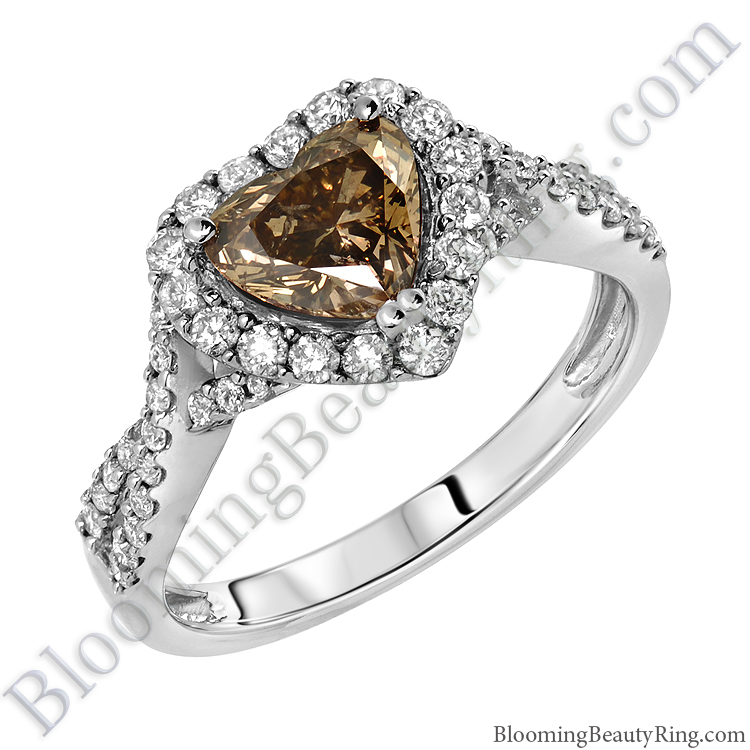Fancy Brown Heart Diamond Halo Engagement Ring
