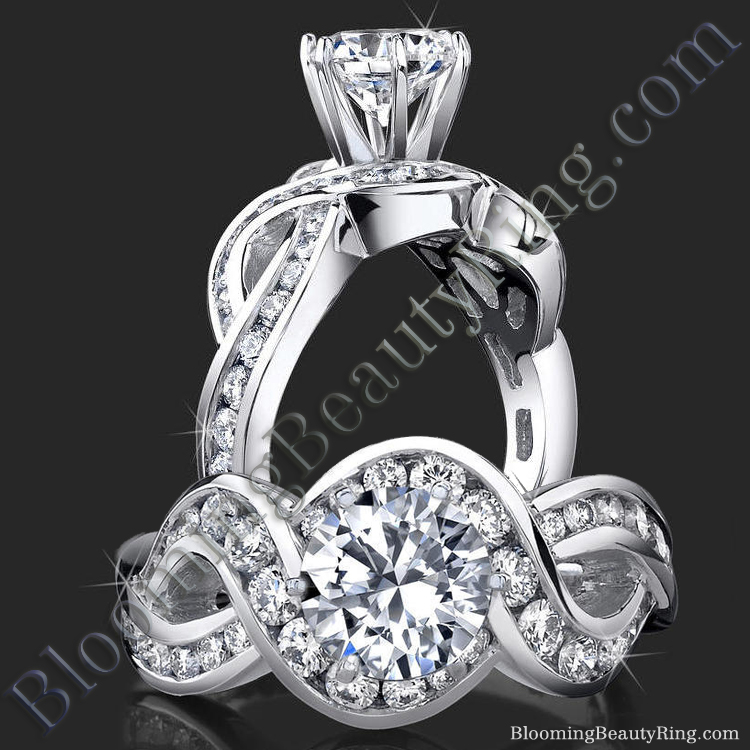 Popular One of a Kind Crossover Style Band with Swirling Graduated Round Accent Diamonds - bbr452