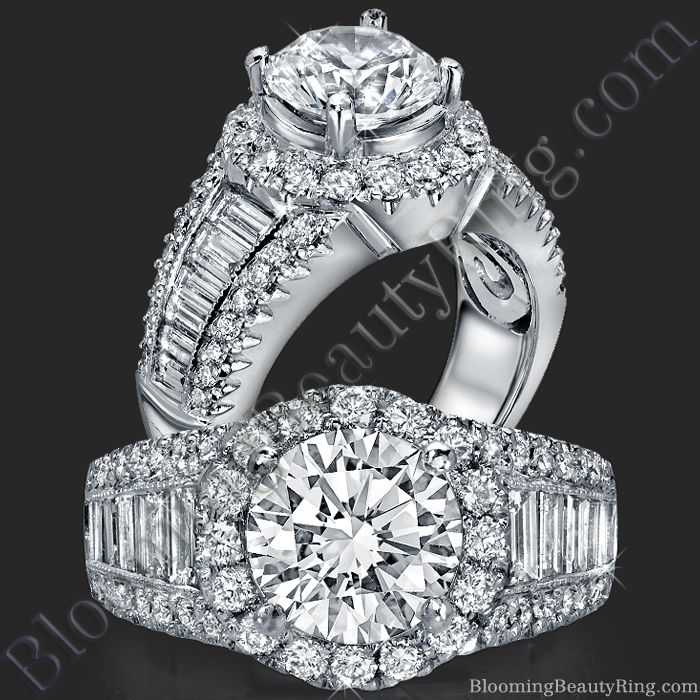 The Majestic Halo Diamond Engagement Ring - bbr288