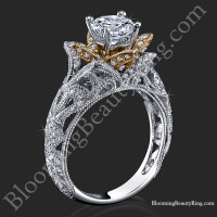 Art Carved Blooming Rose Flower Engagement Ring with Rose Gold Petals 1