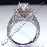 Art Carved Blooming Rose Flower Engagement Ring with Rose Gold Petals 2