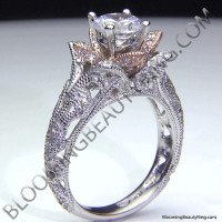 Art Carved Blooming Rose Flower Engagement Ring with Rose Gold Petals 3