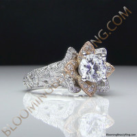 Art Carved Blooming Rose Flower Engagement Ring with Rose Gold Petals 5