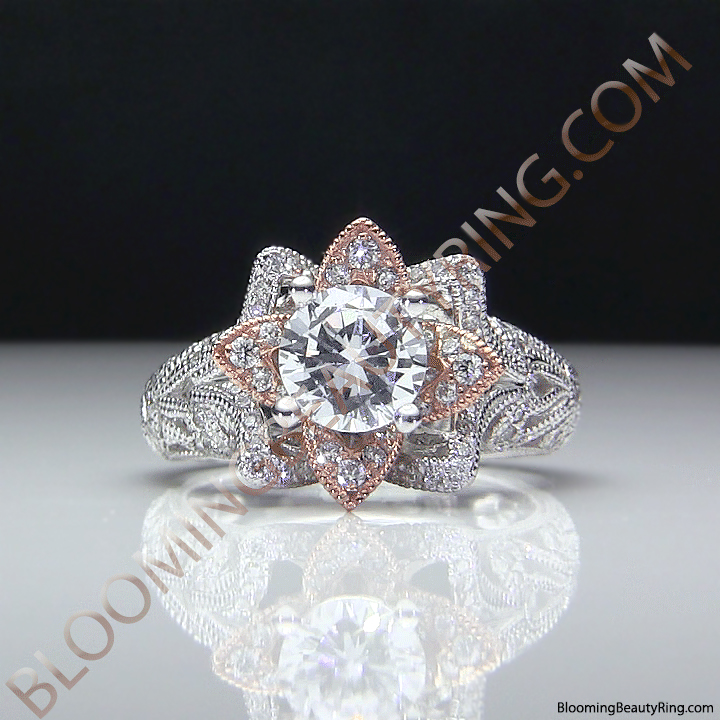 Art Carved Blooming Rose Flower Engagement Ring With Rose