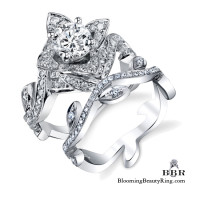 Lotus Ring with Leaves Diamond Engagement Ring Set Upper Angle