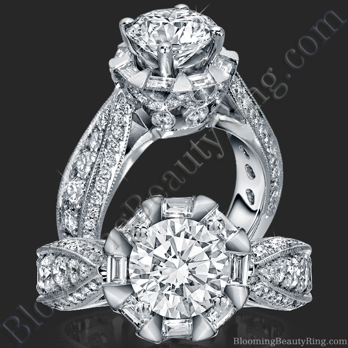 She Will Say Yes! Unique Round Diamond Engagement Ring - bbr458