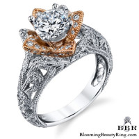 Art Carved Blooming Rose Flower Engagement Ring with Rose Gold Petals 7