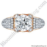Two Tone Scrolling Tiffany Style Round Diamond Engagement Ring in White and Rose Gold