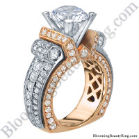 Two Toned Scrolling Tiffany Style Round Diamond Engagement Ring with White and Rose Gold - bbr557-1