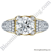 Two Toned Scrolling Tiffany Style Round Diamond Engagement Ring with White and Yellow Gold