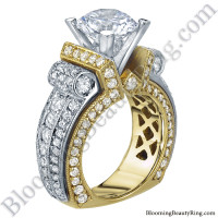 Two Toned Scrolling Tiffany Style Round Diamond Engagement Ring with White and Yellow Gold - bbr557-1