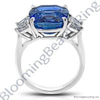 12.60 Carat Cushion Vivid Blue Sapphire 3 Stone Trap Ring - rcc20835-2
