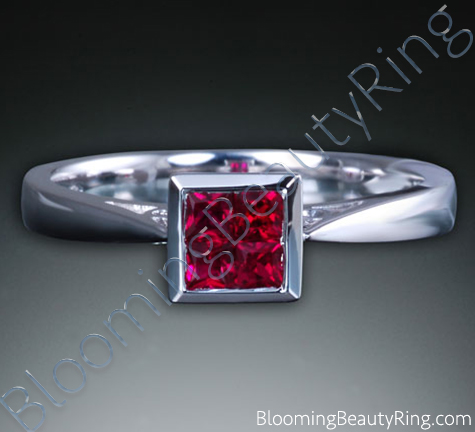 .33 ctw. 18K Gold Invisible Set Ruby Tapered Ring - cgrRG7150